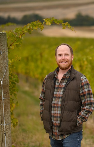 Marc Leahy, Winemaker, in the vineyard