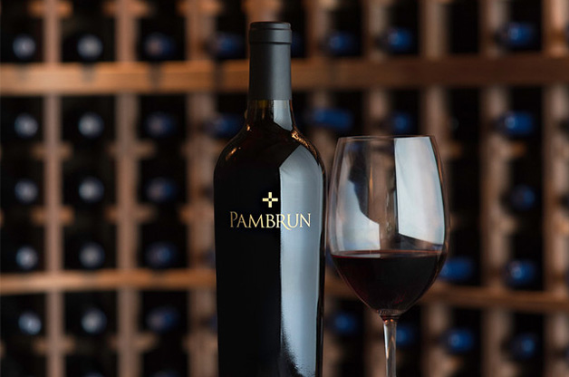 Pambrun bottle and glass of red wine